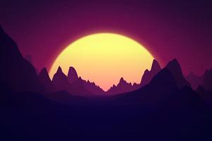Retro Sunrise Mountains 5k Wallpaper