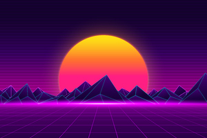Retro Sunset 8k Wallpaper