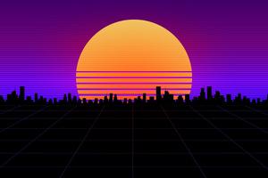Retrowave Big City 4k