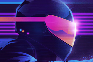 Retrowave Biker Helmet Wallpaper
