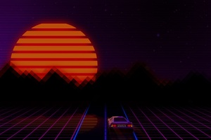 Retrowave City Artistic Car Artwork Wallpaper