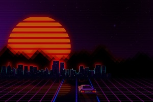 Retrowave City Artistic Car Wallpaper
