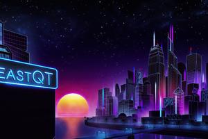Retrowave City Evening Sunset Wallpaper