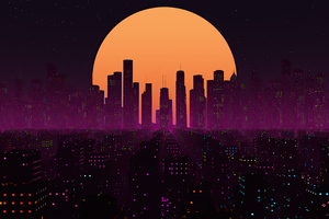 Retrowave City Sunset 4k