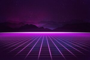Retrowave Grid Mountain Wallpaper