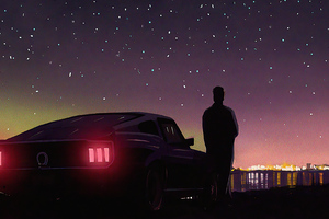Retrowave Nights With Ford Mustang 4k