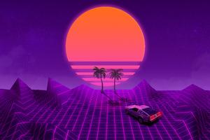Retrowave Purple Dream Wallpaper