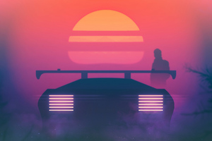 Retrowave Synthwave Evening Ride 4k Wallpaper