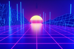 Retrowave Tron Grid