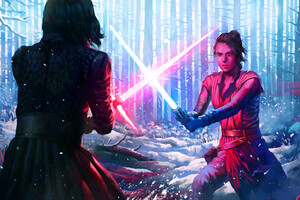 Rey And Kylo Ren Art Wallpaper