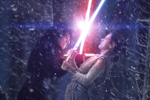 Rey And Kylo Ren Fighting With Lightsaber Wallpaper