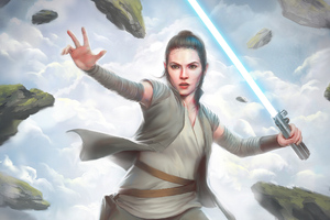Rey Light Saber Art Wallpaper