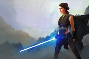 Rey Star Wars The Last Jedi Art 4k