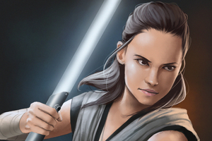 Rey Star Wars The Last Jedi Art HD
