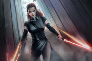 Rey Star Wars Warrior Artwork Wallpaper