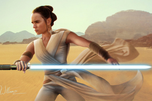 Rey Star Wars With Sword Digital Art 4k