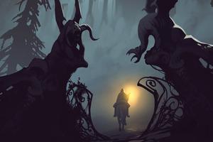 Riding To Castle Dark Night 4k Wallpaper