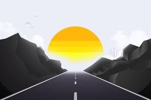 Road Mist Sun Landscape Minimal 4k Wallpaper