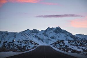 Road Outdoors Snowy Peak 8k Wallpaper