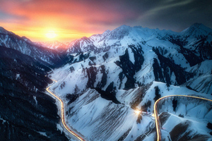 Road Snow Mountains Long Exposure 4k Wallpaper