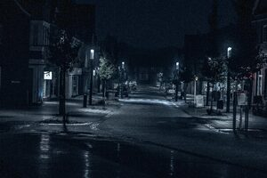 Road Street Night Outdoors Cityscape Evening 5k Wallpaper