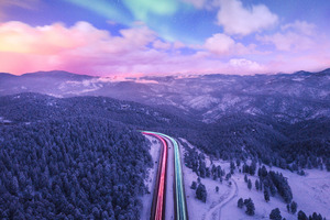 Road Trails Long Exposure Colorful 4k