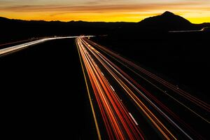 Road Turn Backlight Long Exposure 5k