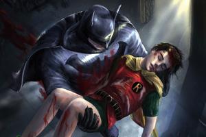 Robin Died In Batman Hands Wallpaper