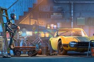 Robot Car Garage 4k Wallpaper