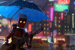 Robot Cat Guitar Umbrella Rain 4k Wallpaper