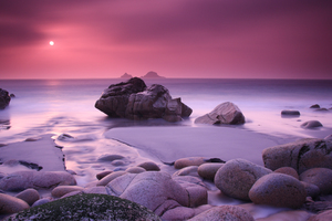 Rock Beach Cool Sunset Wallpaper