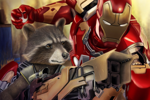 Rocket Raccoon And Iron Man Digital Art