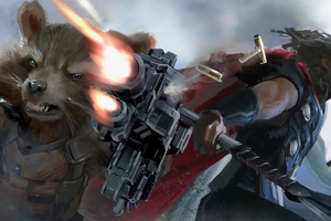 Rocket Raccoon And Thor In Avengers Infinity War Artwork
