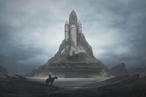 Rocket Space Art Wallpaper