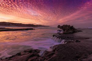 Rocks Orange Waves Reflection Purple Evening 4k Wallpaper