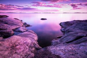 Rocks Pink Scenery Evening Sea 8k