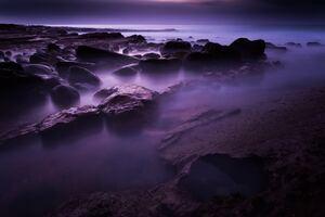 Rocks Shore Long Exposure 8k