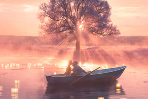 Romantic Couple Boat Wallpaper