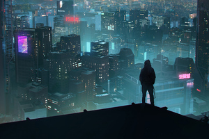 Rooftop Scifi Anonymus Hoodie Guy 4k Wallpaper