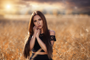Rural Girl In Field 4k Wallpaper