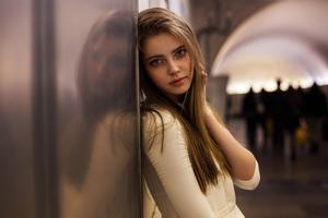 Russian Women Touching Hair White Clothing 4k Wallpaper