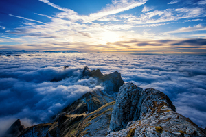 Saentis Mountains Clouds View From Top 4k