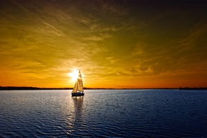 Sailing Boat Sunset Landscape