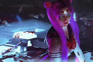 Sailor Moon Cyberpunk Girl 4k Wallpaper
