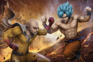 Saitama Vs Goku 4k Wallpaper