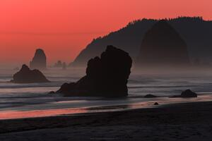 Salmon Sky At Cannon Beach Oregon Wallpaper