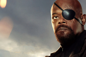 Samuel L Jackson As Nick Fury In Spider Man Far From Home Poster Wallpaper