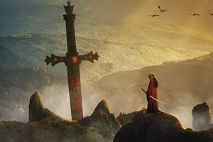 Samurai On Legendary Sword Island 8k Wallpaper