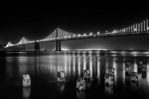San Francisco Bay Bridge At Night Time Monochrome 5k