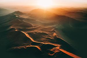 Sand Dunes Sunset 5k Wallpaper